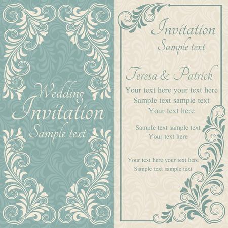 Antique baroque wedding invitation, blue on beige background 向量圖像