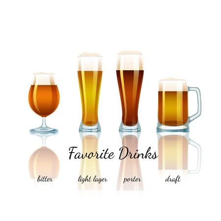 bitter: Favorite Beer Set isolated  Bitter, Light Lager, Porter and Draft Illustration