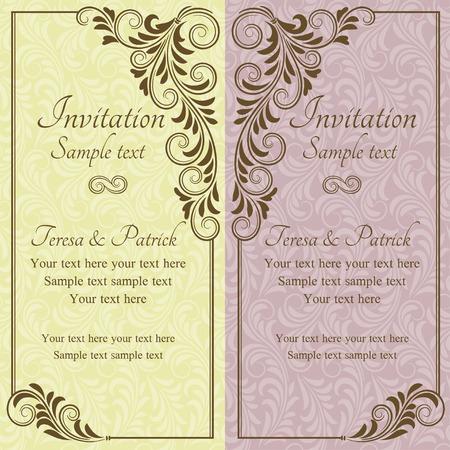 골동품 바로크 결혼식 초대, 분홍색과 노란색 일러스트