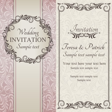 Antique baroque wedding invitation, ornate round frame, brown on beige background Vector