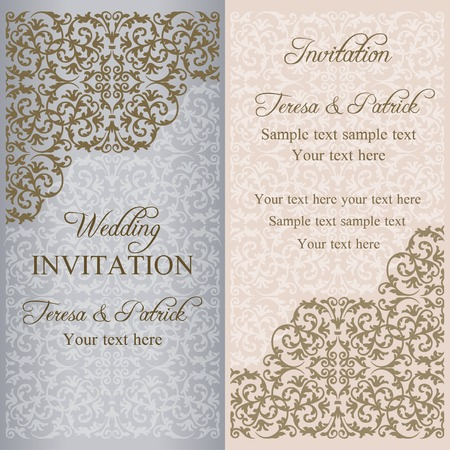 patina: Baroque wedding invitation, gold patina on beige and gray background