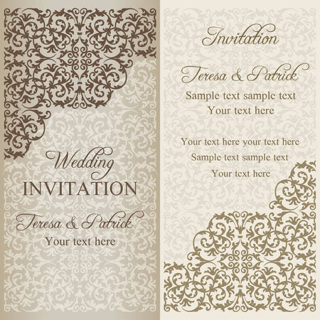patina: Baroque wedding invitation, gold patina on beige background