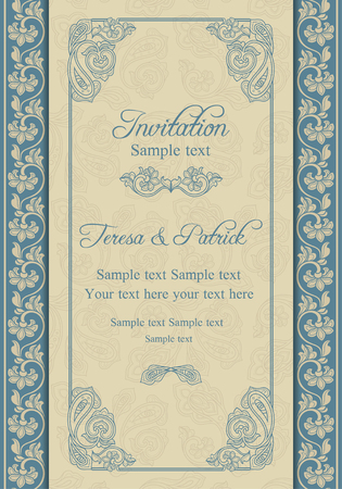 Antique baroque wedding invitation, beige and blue Vector