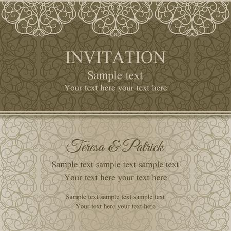 dull: Tarjeta de invitaci�n barroca en el estilo pasado de moda, sin brillo de oro sobre fondo de color beige