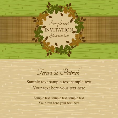 acorn: Autumn or summer invitation, oak round frame with acorns, green, brown and beige Illustration