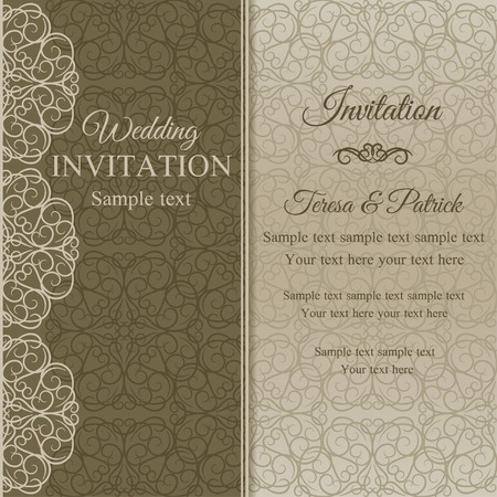 dull: Baroque invitation card in old-fashioned style, dull gold on beige background Illustration