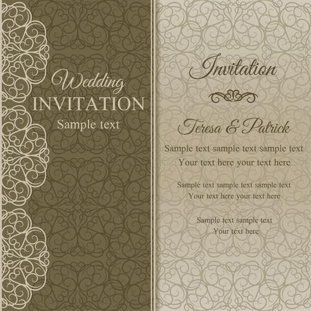 dull: Tarjeta de invitaci�n en estilo barroco anticuado, aburrido de oro sobre fondo de color beige