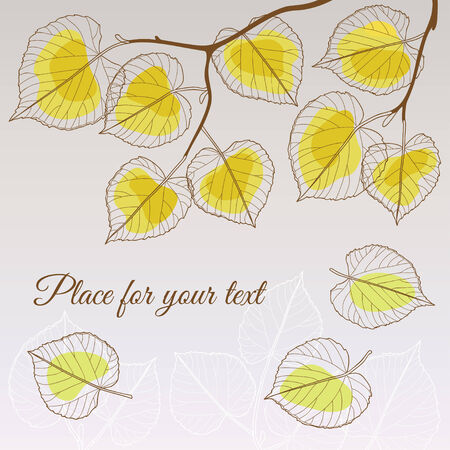 linden: Abstract transparent linden leaf fall red style with place for your text