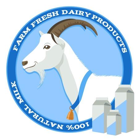 Cabra blanca con la campana y el paquete de la etiqueta de la leche en el estilo azul Vectores