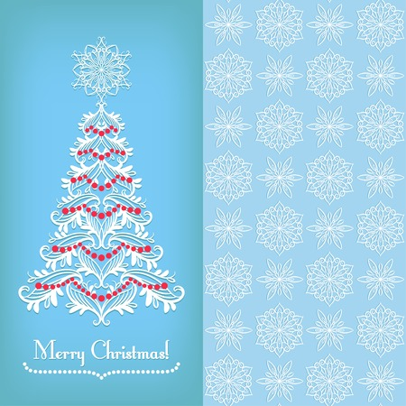 xmas floral: Greeting vintage card with Christmas tree and snowflake, blue Illustration