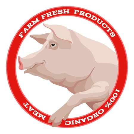 Pink pig with leg side view round label in red style Vector