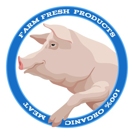 Pink pig with leg side view round label in blue style Vector