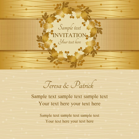 Christmas invitation card with holly wreath, gold and beige Vector
