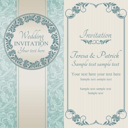 turquoise swirl: Antique baroque wedding invitation, ornate round frame, blue on beige background
