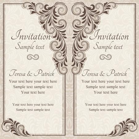 Antik barokk esküvői meghívó, barna, bézs háttér