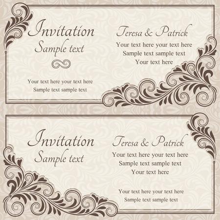 Antique baroque wedding invitation, brown on beige background