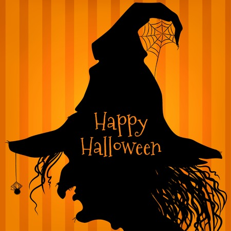 spell: Witch silhouette, side view, Halloween style, orange striped background