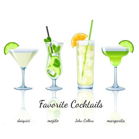 好きなカクテルは分離を設定します。ダイキリ、マルガリータ モヒート、ジョン ・ コリンズ
