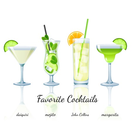 cocktails: Favorite Cocktails Set isolated. Daiquiri, Mojito, John Collins and Margarita Illustration