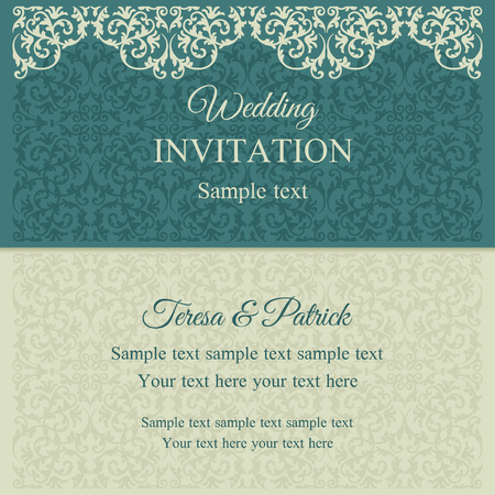 marriage certificate: Baroque invitation card in old-fashioned style, blue and beige