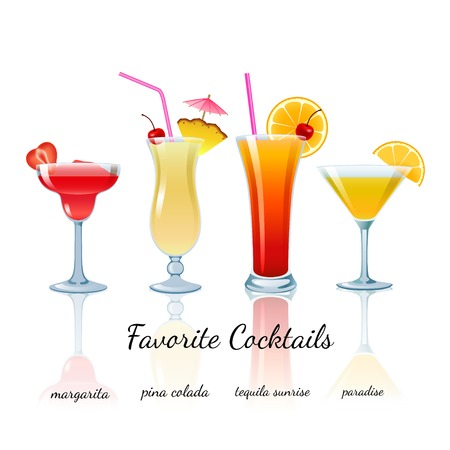 dawn: Favorite Cocktails Set isolated. Margarita, Pina Colada, Tequila Sunrise and Paradise Illustration