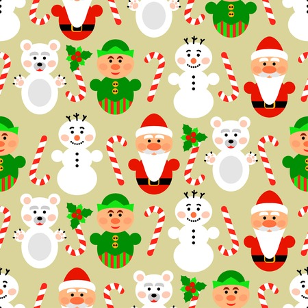 elven: Christmas seamless pattern background with snowman, santa, polar bear and lollipop Illustration