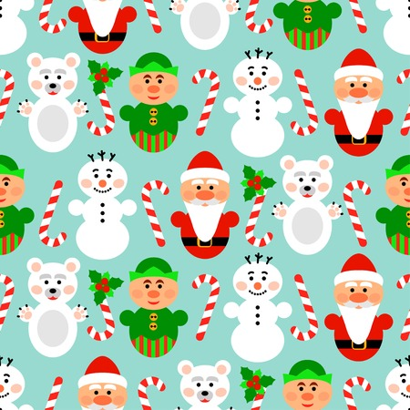 Christmas seamless pattern background with snowman, santa, polar bear and lollipop 일러스트