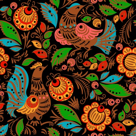 folk: Folk traditional painting. Seamless pattern with flowers and birds