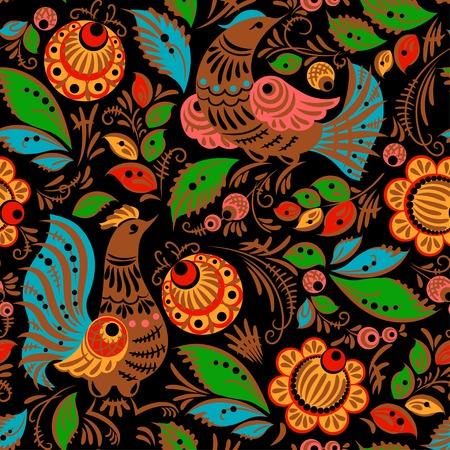 Folk traditionele schilderkunst. Naadloze patroon met bloemen en vogels Vector Illustratie