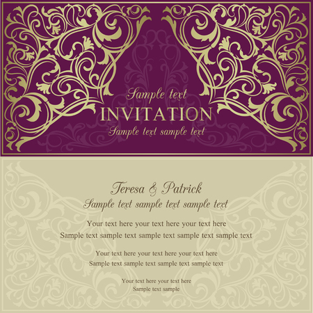 Orient east invitation card in old-fashioned style, purple and beige