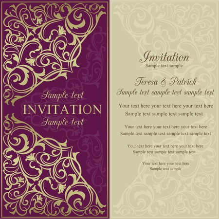 Orient east invitation card in old-fashioned style, purple and beige Stock fotó - 32702829