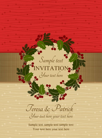 Christmas invitation card with holly wreath, red and beige Vector