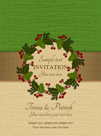 Christmas invitation card with holly wreath, green and beige Vector