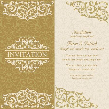Barock Einladungskarte im altmodischen Stil, Gold und Beige