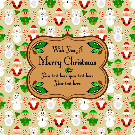 Christmas seamless pattern card background with snowman, santa, polar bear and lollipop, beige Vector