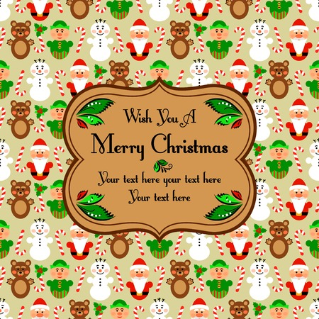 elven: Christmas seamless pattern card background with snowman, santa, polar bear and lollipop, beige