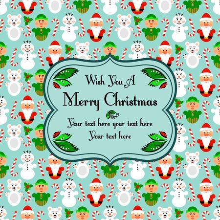 Christmas seamless pattern card background with snowman, santa, polar bear and lollipop, blue Vector