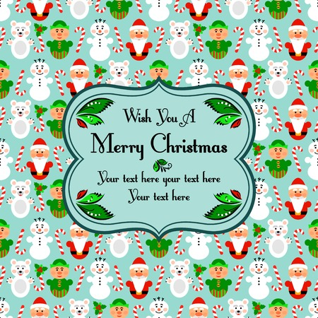 elven: Christmas seamless pattern card background with snowman, santa, polar bear and lollipop, blue