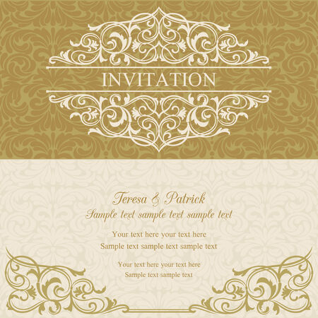 baroque border: Baroque invitation card in old-fashioned style, gold and beige