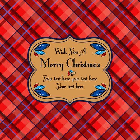 christmas plaid: Christmas plaid tartan pattern card, dark red beige style Illustration