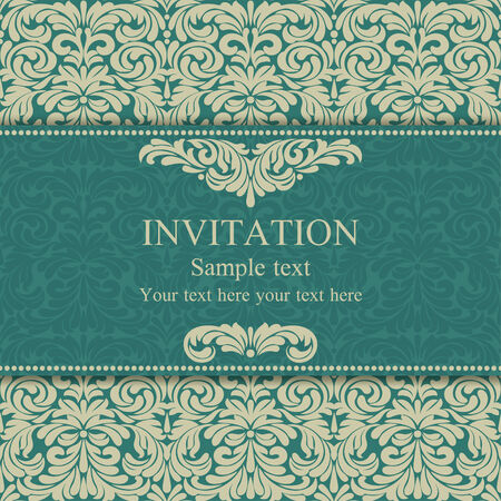 Baroque invitation card in old-fashioned style, blue and beige