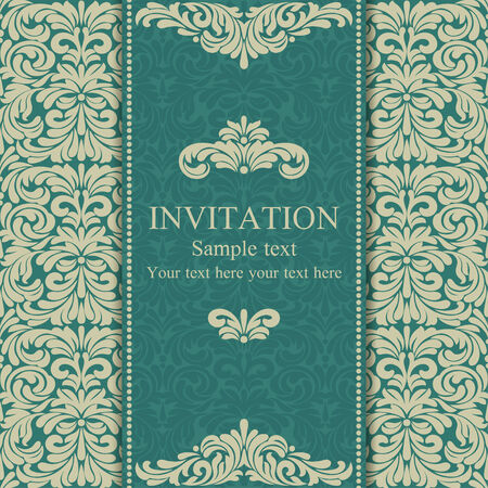 dark beige: Baroque invitation card in old-fashioned style, blue and beige