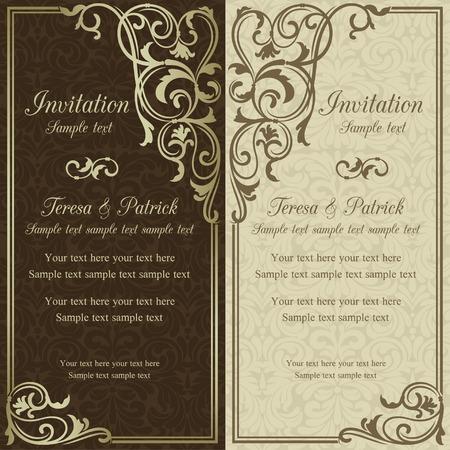 Antique baroque wedding invitation, brown on beige background Stock fotó - 33389295
