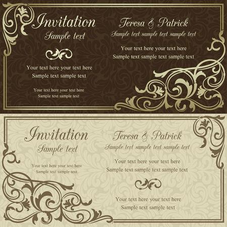 베이지 색 배경에 갈색 골동품 바로크 결혼식 초대