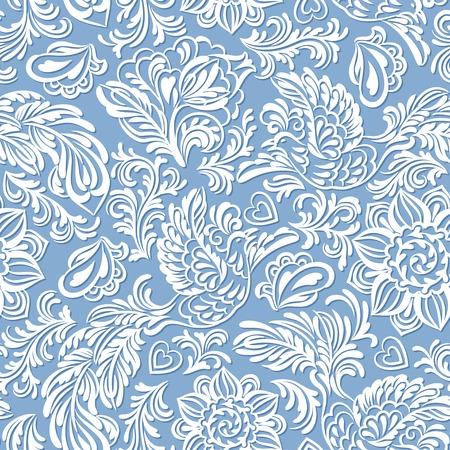파란색 스타일에서 조류와 꽃 바로크 원활한 패턴 또는 배경 일러스트