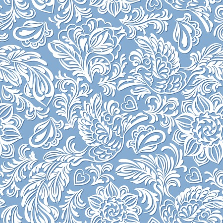 Baroque seamless pattern or background with birds and flowers in blue style Illustration