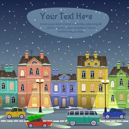 coche antiguo: Calle de la ciudad en la noche de Navidad. Coches y edificios en estilo de dibujos animados Vectores
