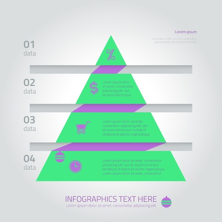 funnel: Flat infographic triangle fir template with arrows and text areas