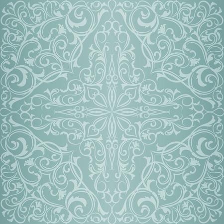 블루 골동품 동양 동쪽 빈티지 원활한 패턴 또는 배경
