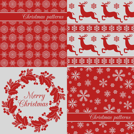 christmas backgrounds: Set of Christmas seamless backgrounds, red. Snowflake, deer, holy wreath